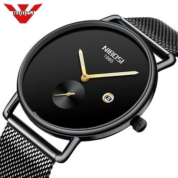 Reloje NIBOSI Mesh Steel Mens Watches Fashion Top Brand Luxury Sport Ultra Thin Quartz Watch Men Casual Date Waterproof Watch
