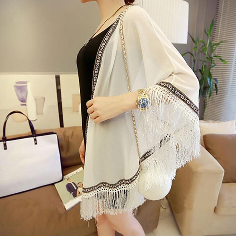 Women Blouses Free Size Sun-proof Tassels Cardigan Women Tops Chiffon Batwing Blouse Kimono Cardigan Chemise Femme