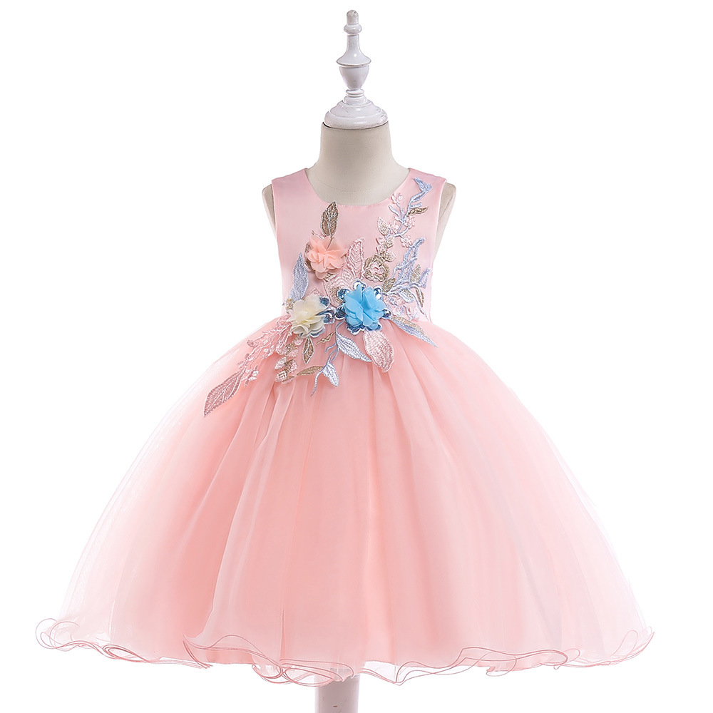 Cross Border New Style Child Formal Dress Children Shirt CHILDREN'S Dress Princess Stereo Flower Gauze Puffy Piano Performance F