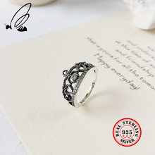 Crown Ring 925 Sterling Silver Anel For Women Vintga Punk Bague Femme Argent 925 Couple Rings Accesorios Mujer Party Jewelry natural yellow stone ring 925 sterling silver bague femme wedding punk statement pure s925 thai silver rings for women jewelry