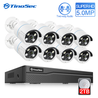 TinoSec 8CH 5MP CCTV Camera System H.265 Two way Audio Outdoor POE Metal IP Camera Waterproof Video Security System Home Kit