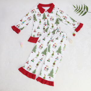 Image 4 - Baby Christmas pajamas Pattern T Shirts Childrens Sets Girls Dresses Pants Outerwear & Coats Family Matching Sleep clothes