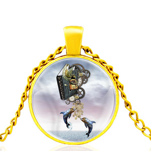 Steampunk Dolphin Glass Dome Metal classic Necklace Pendant Chain Choker For Men And Women Jewelry Gift