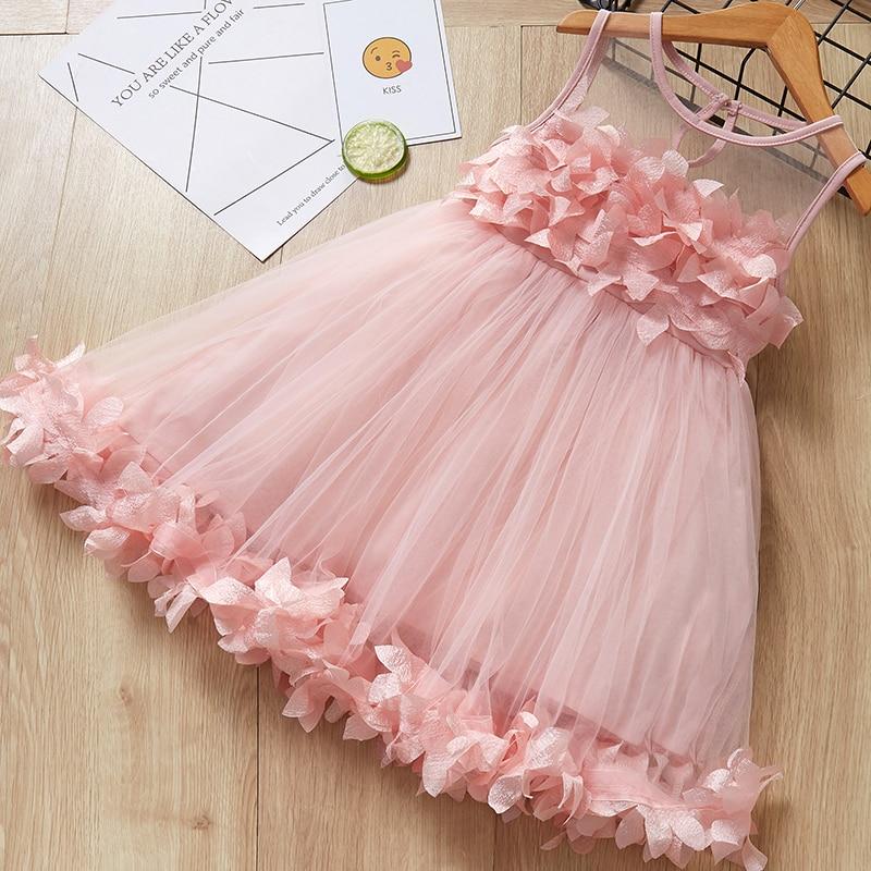 Menoea Cute Girls Dress 2017 New Summer Mesh Clothes Pink Applique Princess Children Baby