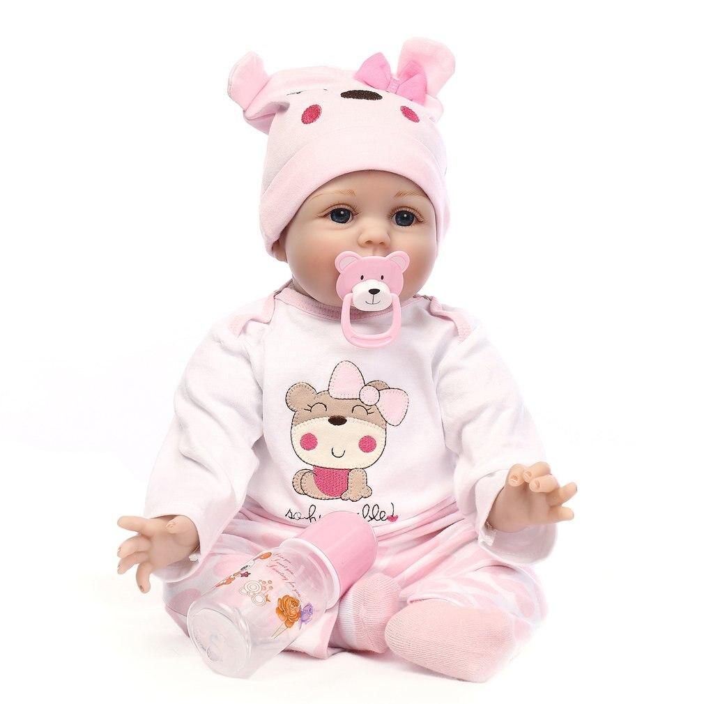 OCDA Cute Soft Silicone Reborn Sleeping Baby Doll Lifelike Newborn Doll Handmade Realistic BeBe Reborn Dolls 55cm 57cm Gifts
