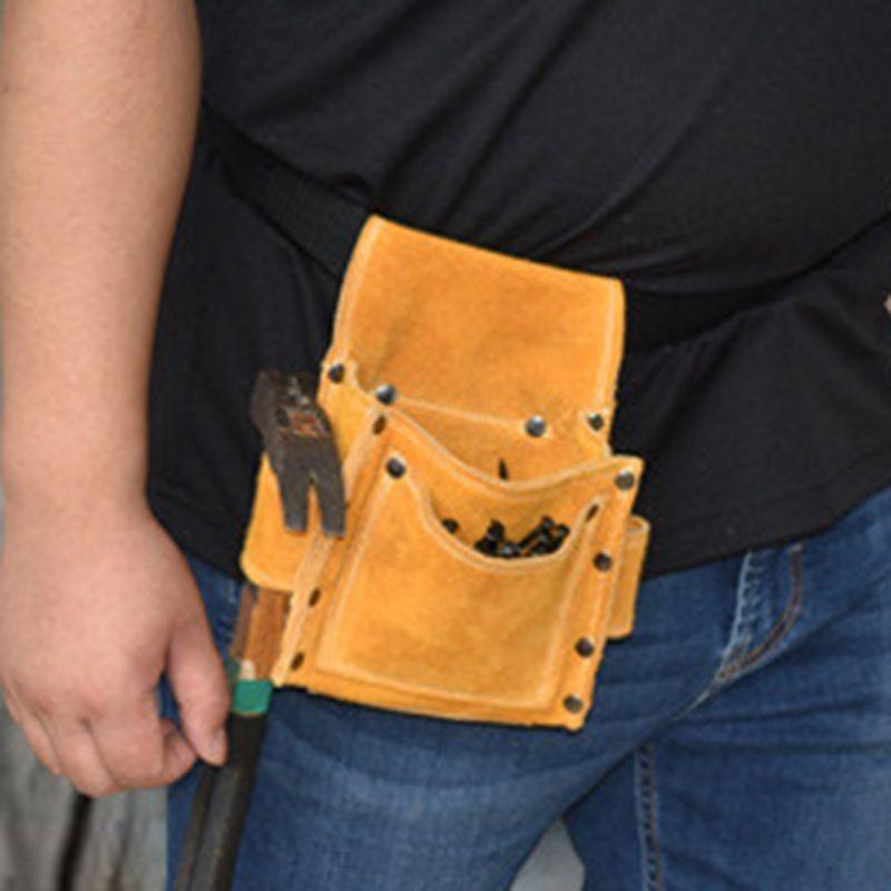 High Quality Cowhide Wearable Waist Pack Electric Waist Tool Belt Bag Screwdriver Kit Repair Tool Holder Drill Bit  Tool Storage