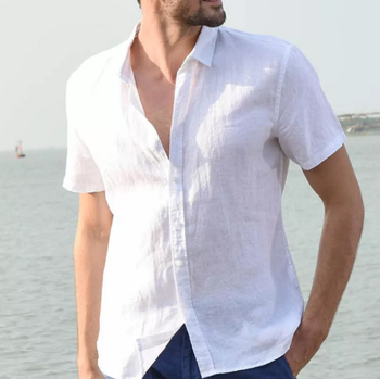 2020 new men's summer short sleeve cotton linen sleeve cotton casual breathable shirt style solid color men's shirt