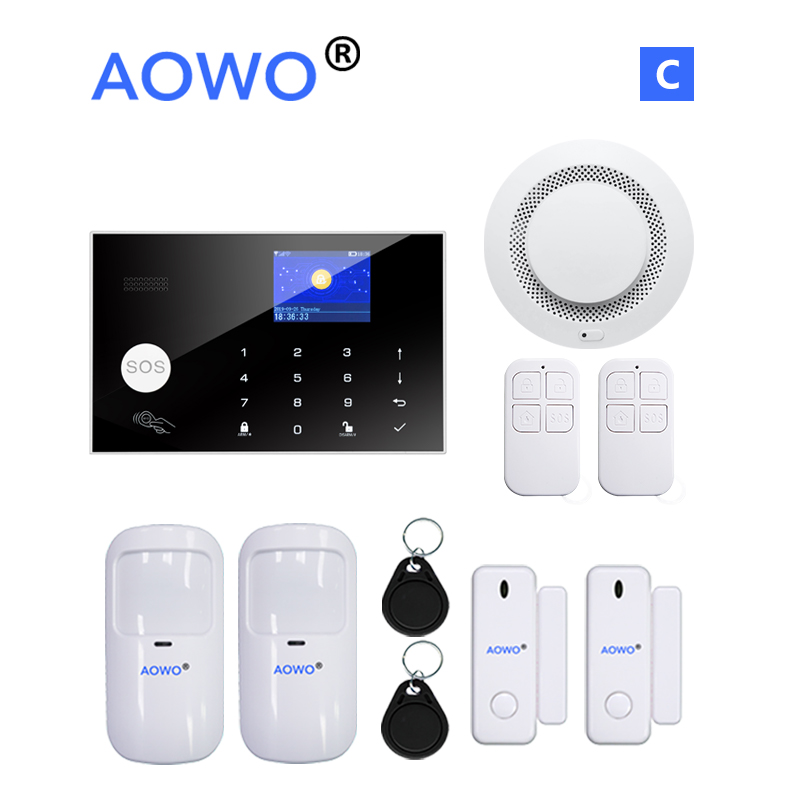 Wireless 4G WiFi Alarm System With Tuya Amazon Alexa Google Home IFTTT Voice Control Fire Smoke PIR Motion Detect LCD RFID Alarm