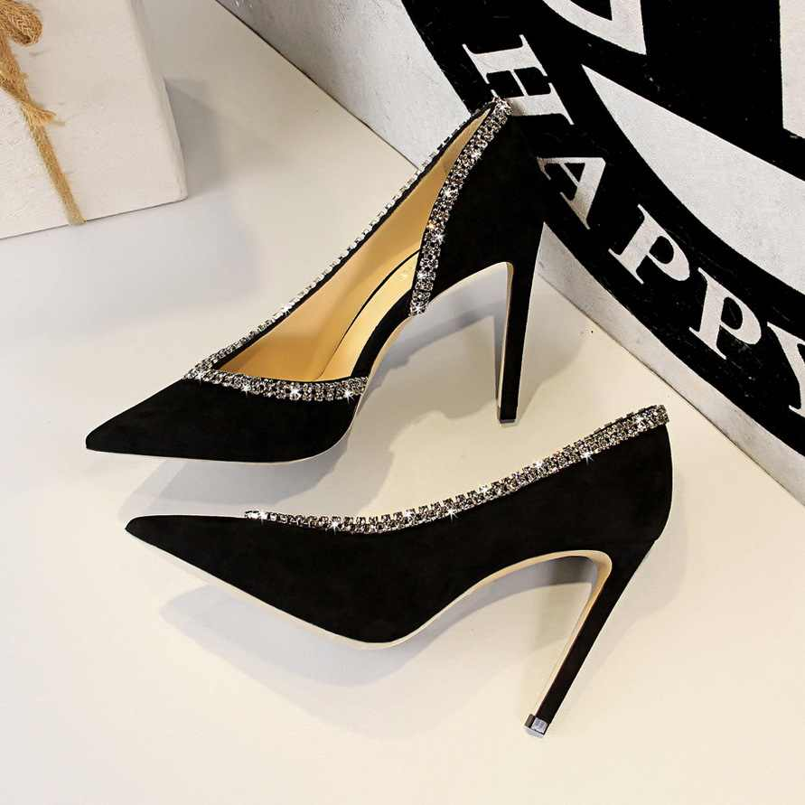European And American-Style Fashion Sexy Evening Ultra-High-Heel Suede Shallow Mouth V Mouth Rhinestone Side Cut-out Shoes