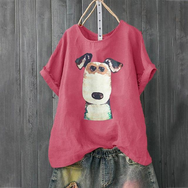 Women's Casual Dog Patterned Loose T-Shirt