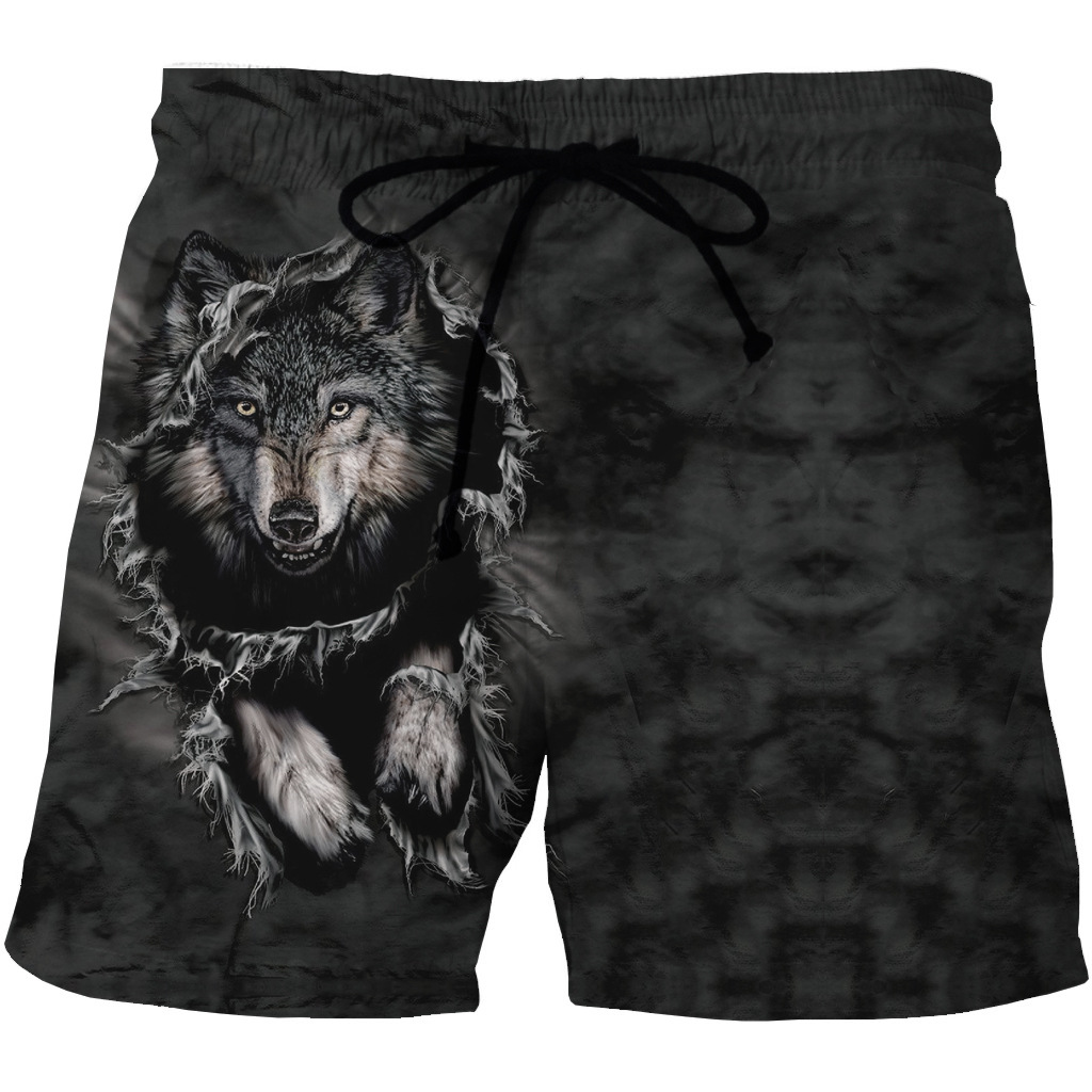 Hot Sale Of New European And American Men's Quick-drying Beach Shorts 3D Creative Printing Casual Pocket Shorts On Both Sides