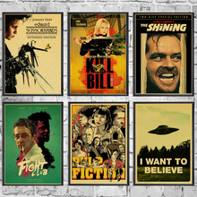Clásico película Fight Club/Pulp Fiction/brillante/Kill Bill póster clásico pegatinas de pared para la decoración del hogar de la sala de estar