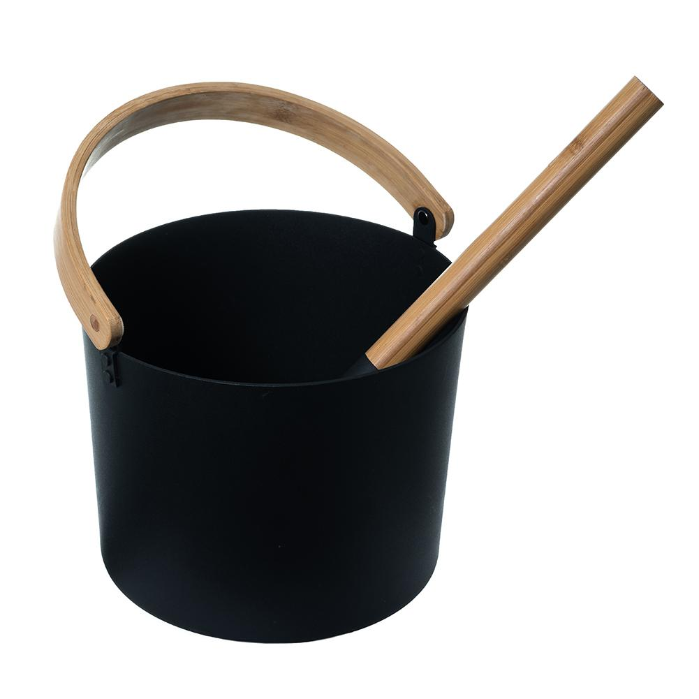 7L Luxurious Finnish Sauna Aluminum Bucket With Long Handle Spoon Set Matching Ladle Sauna Barrel