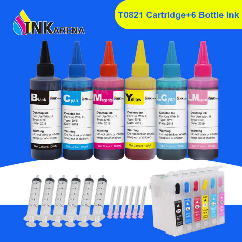 Inkarena Botol Tinta 6 × 100 Ml + T0821-T0826 Isi Ulang Tinta Printer Cartridge untuk EPSON STYLUS PHOTO R270 r290 R390 RX590 RX610