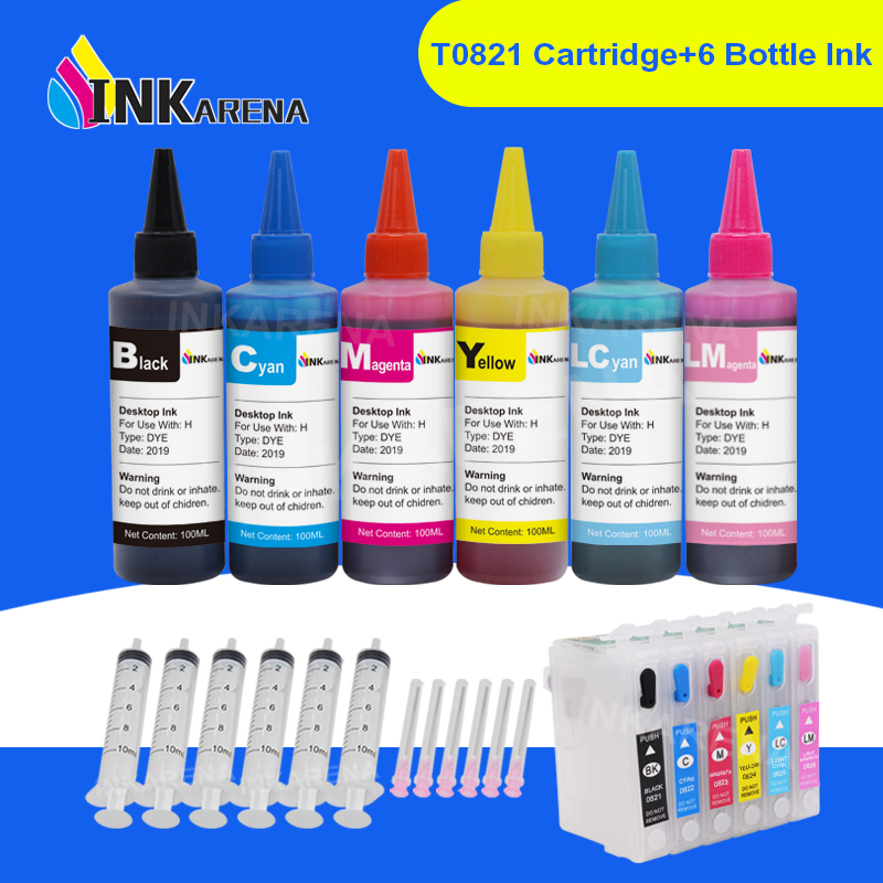 INKARENA Ink Bottle 6×100ml    T0821   T0826 Refill Printer Ink  Cartridge For Epson Stylus Photo R270 R290 R390 RX590 RX610Ink  Cartridges