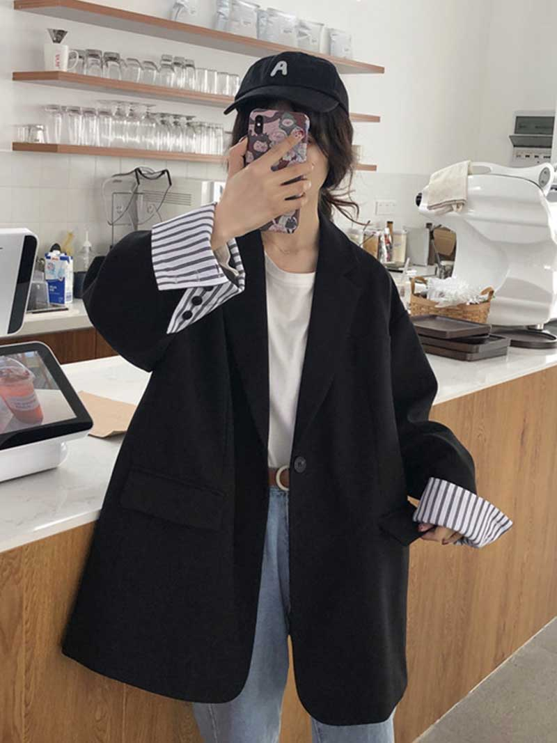 Solid Plus Size Women Blazer Causal Striped Sleeve Notched Blusas Autumn Chic Office Ladies Jacket Coat Chaqueta Mujer