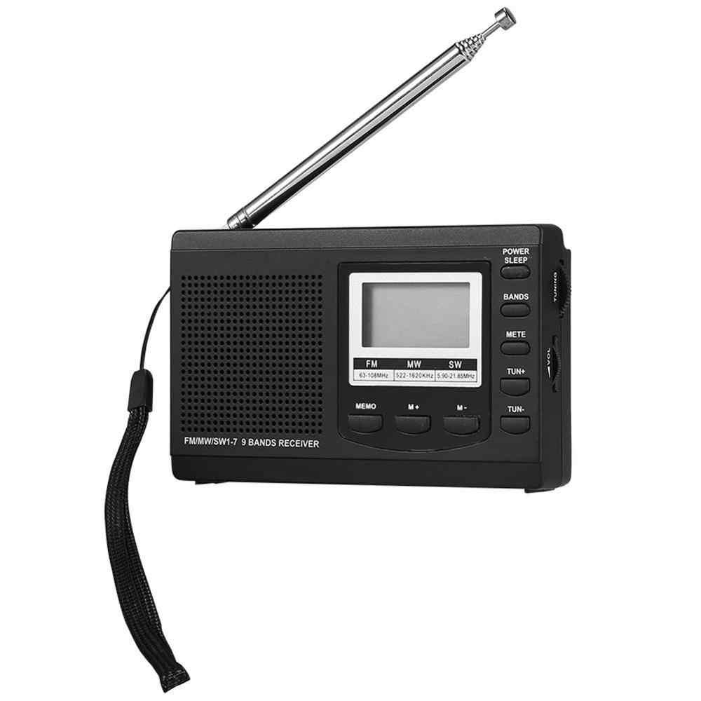 VBESTLIFE DC 5V ミニポータブルミニステレオラジオ FM/MW/Sw フルバンド受信機デジタルアラーム時計音楽プレーヤースピーカー