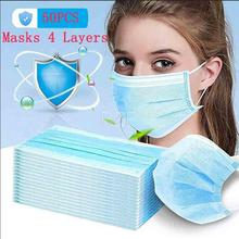 HOT  50/20PCS Disposable mouth Mask 4 Layers Earloop Face Surgical Masks  supplies coronavirus test