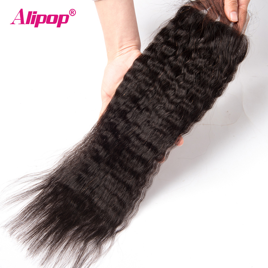 Kinky Straight Hair With Closure Peruvian Human Hair 3 Bundles With Closure Alipop Remy Hair Closure With Bundles 10-28Inch 4Pcs (5)