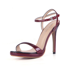 цена на Summer New 12cm High Heeled Sandals Ankle Strap Women Sandals Stiletto Thin heel  Open Toe Sexy Party Dress Lady Shoe 3ASL-a16