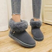 FEVRAL 2021 botlar kadın inek süet ayakkabı kış çizmeler ayakkabı yeni kadın moda rahat sıcak kar Botas Mujer kadın yarım çizmeler