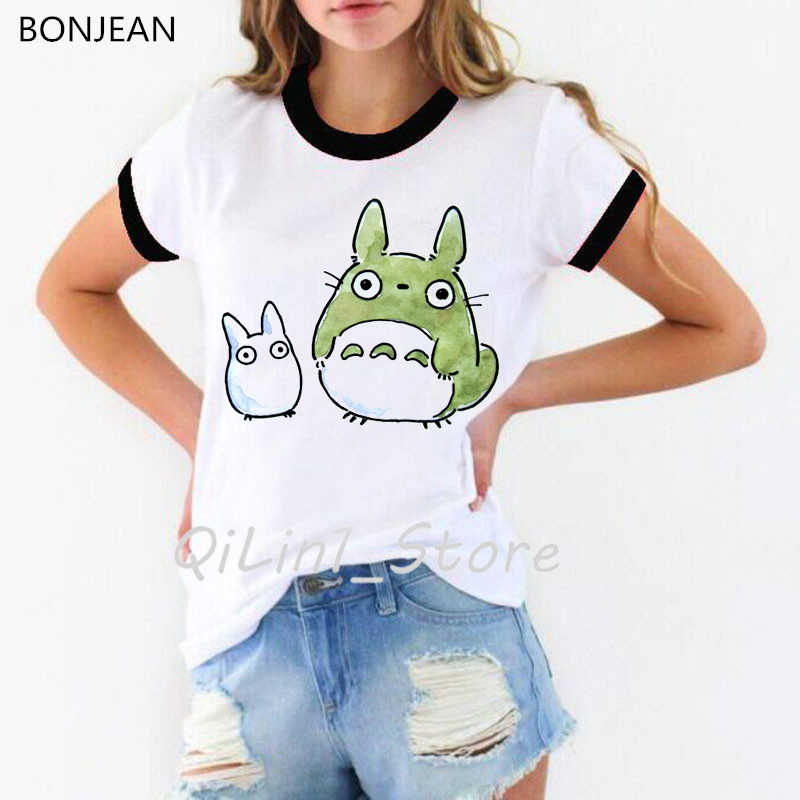 El Anime japonés de dibujos animados espíritu t camisa mujeres Studio Ghibli camiseta mujer camiseta Totoro Hayao Miyazaki ropa tumblr camiseta