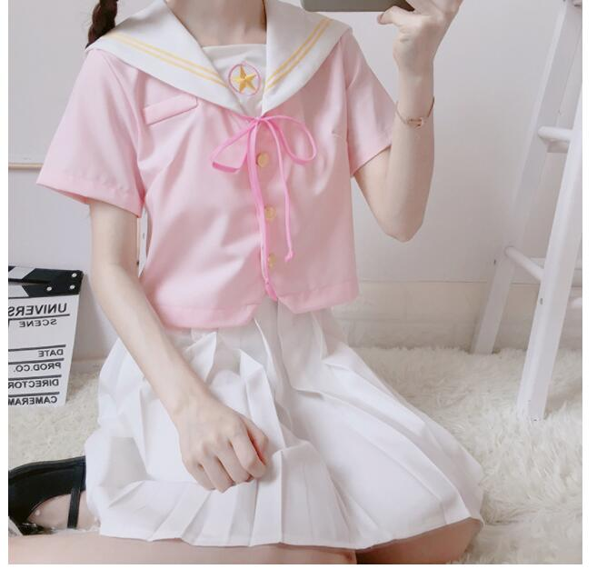 Sakura Japanese Pink School Uniforms Sweet Pleated Skirt JK Uniform Sailor Suit College Cosplay Female Student Girls Sets