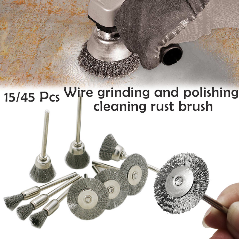 45 Pieces Mini Wire Brush Kit,Polishing Attachment,Wheel Steel Brushes for Dremel Accessories Rotary Tools Polish Clean Tools