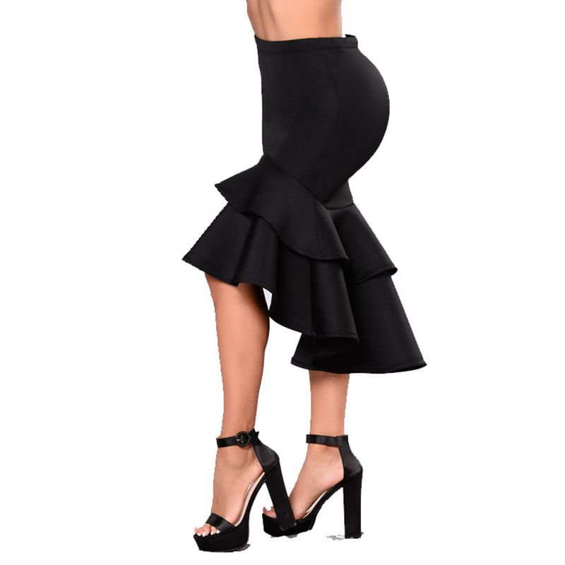 Skirt Black Plus Size Skirt For Women Winter Ruffles Sexy Skirts Women's Large Size