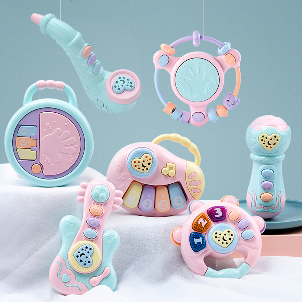 Colorful Projection Musical Baby Rattles Toys Flashing Hand Bells Baby Toys Infant Digital Graphic Cognition Educational Toys