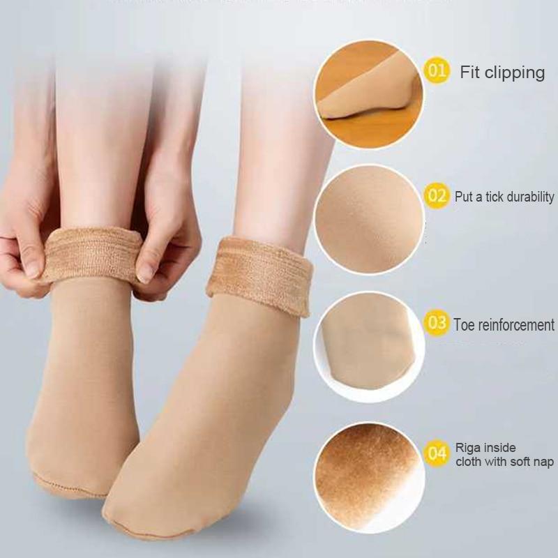 1 Pair Winter Autumn Warm Socks Thicken Thermal Wool Cashmere Snow Socks Unisex Breathable Warm Solid Nylon Socks Seamless Socks