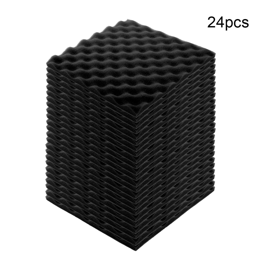 Sound Polyurethane Foam Pad Recording Studio Soundproof Wedge Foam Video Room Sound Noise Insulation Sponge Wall Deadening 24PCS