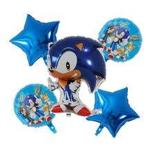 Sônico festa tema balão ouriço balão conjunto festa de aniversário decoração sonic folha de alumínio balão placa bandeira do chuveiro do bebê presente