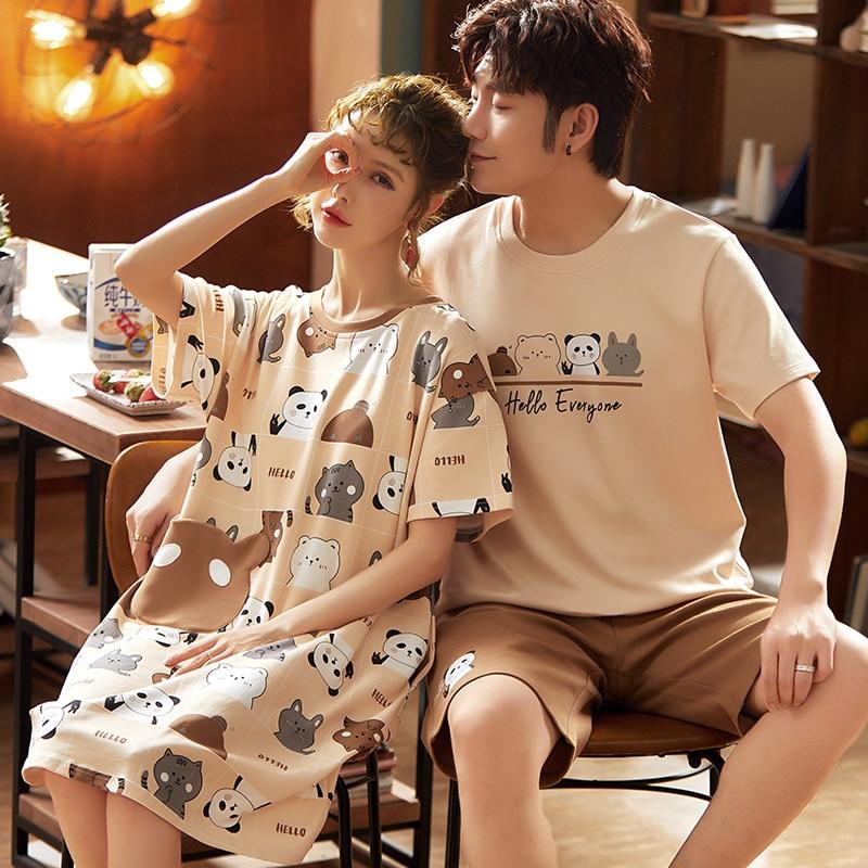 Short Sleeve Cotton Pajamas Couple Comfortable Pajamas 2020 Autumn And Summer Cartoon Men's Lazy Men's Casual Pajamas
