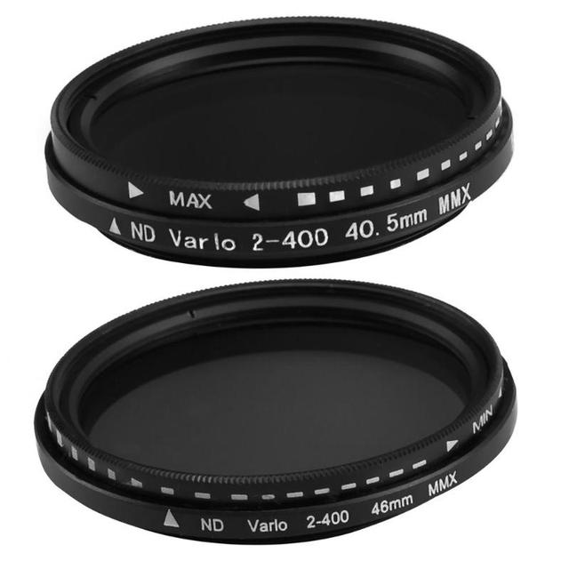 40.5mm/46mm Fader değişken ND filtre ayarlanabilir ND2 to ND400 ND2 400 nötr yoğunluk Canon NIkon Sony için kamera Lens