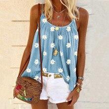 women summer tank tops fashion loose flower print camis slee