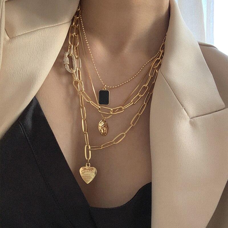 Peri'sBox 4Pcs/set Paper Clip Chain Love Heart Necklaces Black Square Portrait Necklaces for Women Minimalist Layered Necklaces