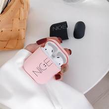 Auricular de dibujos lindo fundas Air Pods recubrimiento mate Frosted Hard PC bonito Rosa Protector pareja accesorios para Apple AirPods 2(China)