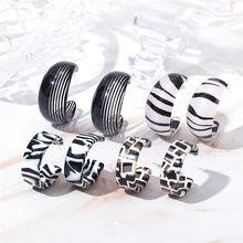 Vintage Korea Leopard Acryl Hoop Ohrringe Für Frauen Mädchen Streifen Zebra Muster Geometrische C Geformt Ohrring Mode Schmuck Geschenk