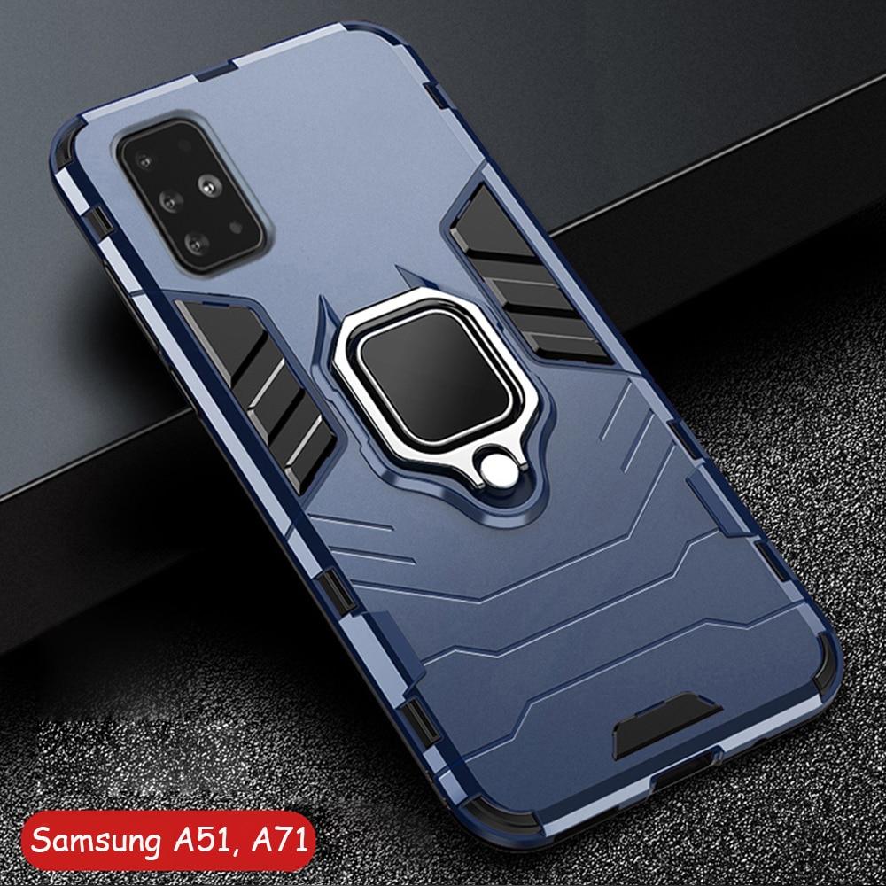 Für Samsung Galaxy A51 EINE 51 Fall Rüstung PC Abdeckung Metall Ring Halter Telefon Fall Für Samsung A71 EINE 71 abdeckung Stoßfest Harten Auto