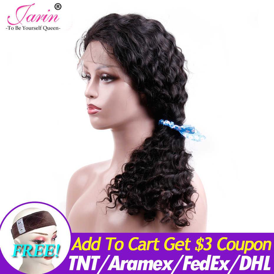 Jarin cabelo onda profunda 13x4 perucas frontal do laço 2/5/10 pces/lot remy peruca do cabelo humano 150% densidade peruano cabelo profundo encaracolado perucas do laço
