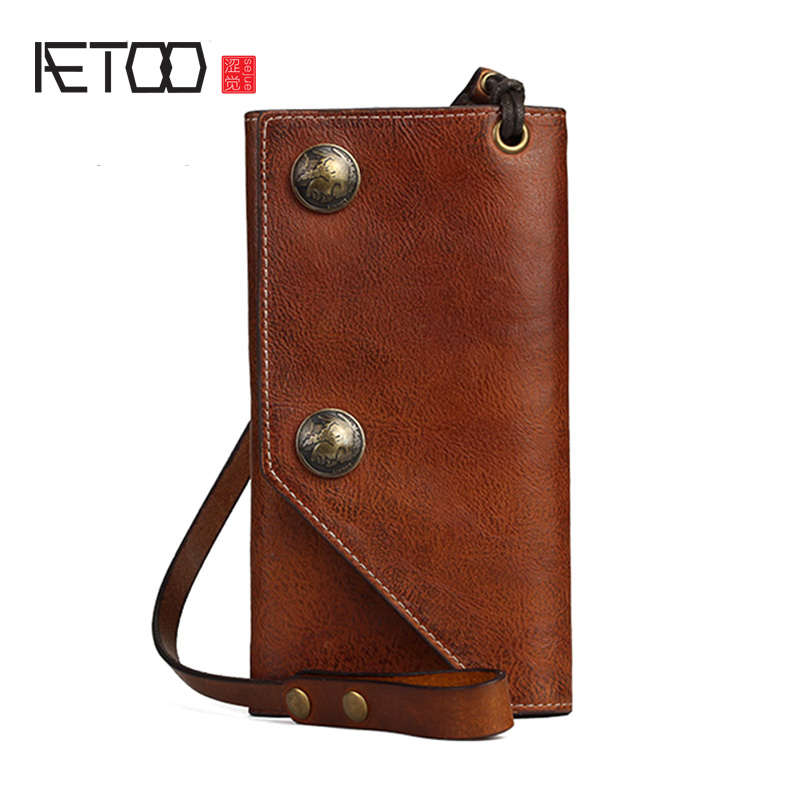 AETOO Men's fashion wallet, male long plant tanning cowhide handbag, vintage fashion wallet