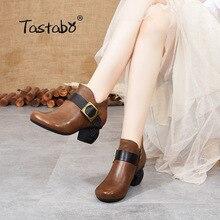 Botas de mujer de tacón alto de cuero genuino manual tastero negro marrón textura Vintage S3655-5 zapatos de mujer cómodos zapatos de diario