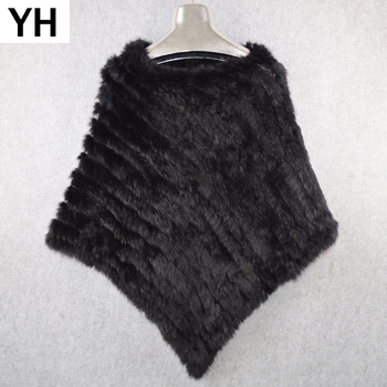Lady Hot Sale Real Rabbit Fur Poncho Scarf Autumn Winter Real Rabbit Fur Shawl Knitted Women Elastic Genuine Rabbit Fur Pashmina 1