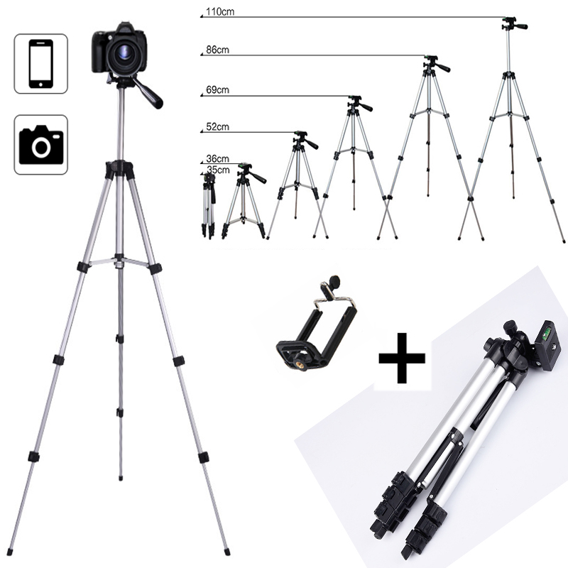 Extendable Mobile Smart Phone Digital Camera Tripod Stand Mount Holder Clip Set For Nikon for Canon for iPhone 6 6s 7 110cm/65cm