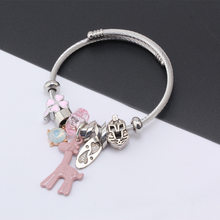 Europe And America Fashion Stainless Steel Adjustable Cartoon Deer Pendant GIRL'S Bracelets Multi-Element Cool Bracelet(China)