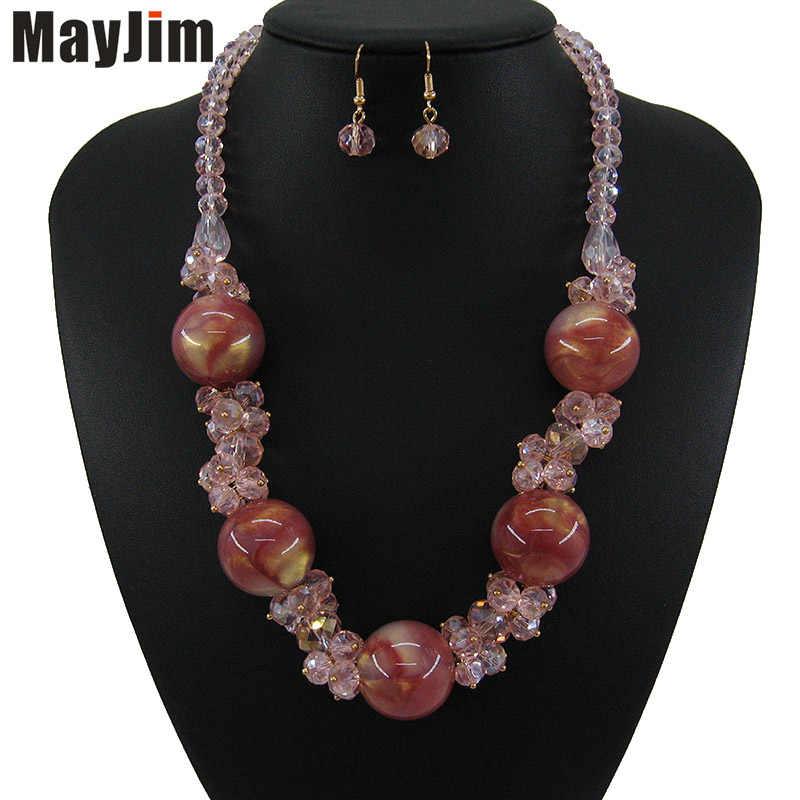 Colorful Gift For Women, Beaded Bohemian Carnelian Garnet Gemstone Bib Necklace