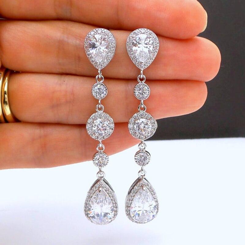 Luxury Long Earrings For Women Wedding Jewelry Trendy Water Droplets Beads Zircon Earring Pendientes Bijoux
