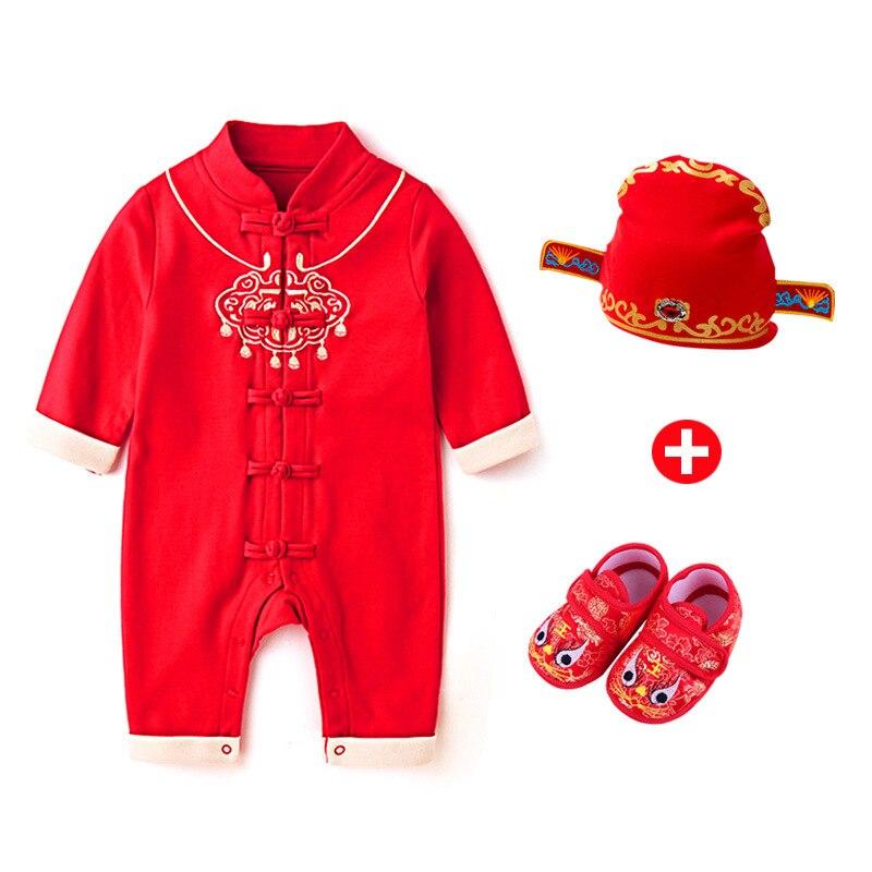 Chinês tradicional de alta qualidade roupas do bebê menino algodão macacão botão bebê macacão + chapéu de ano novo meias conjunto
