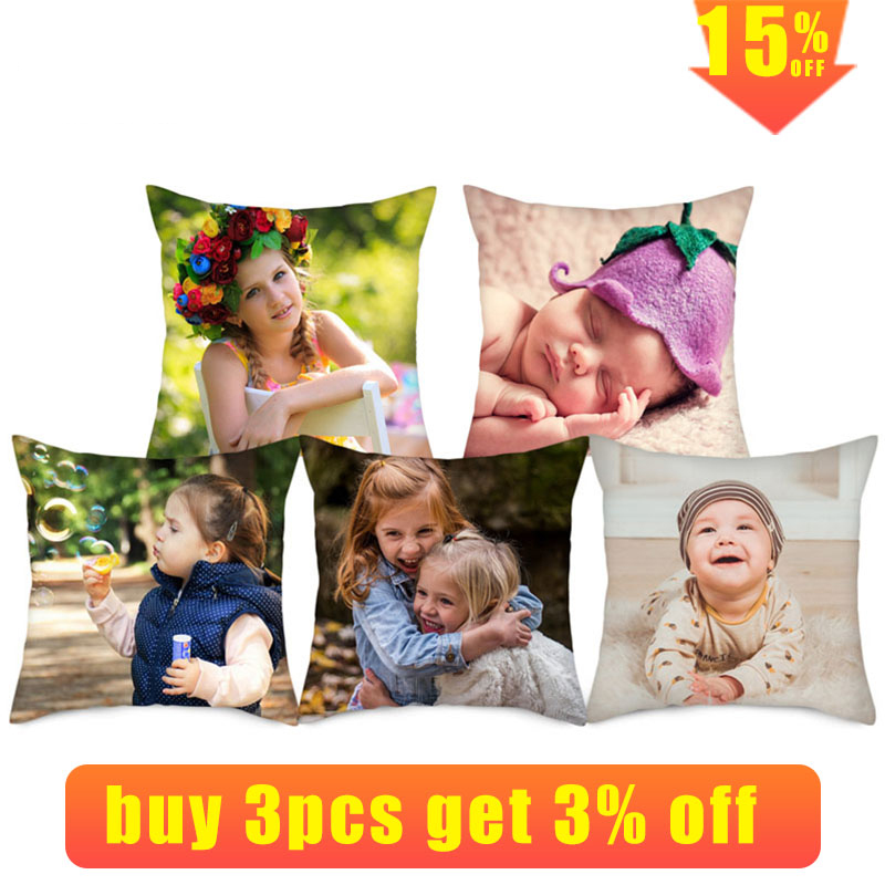 mling Life Photo Customization Pillow Cover Child Personal Customize Cushion Cover Linen Pillowcase Print Photo 45cm*45cm